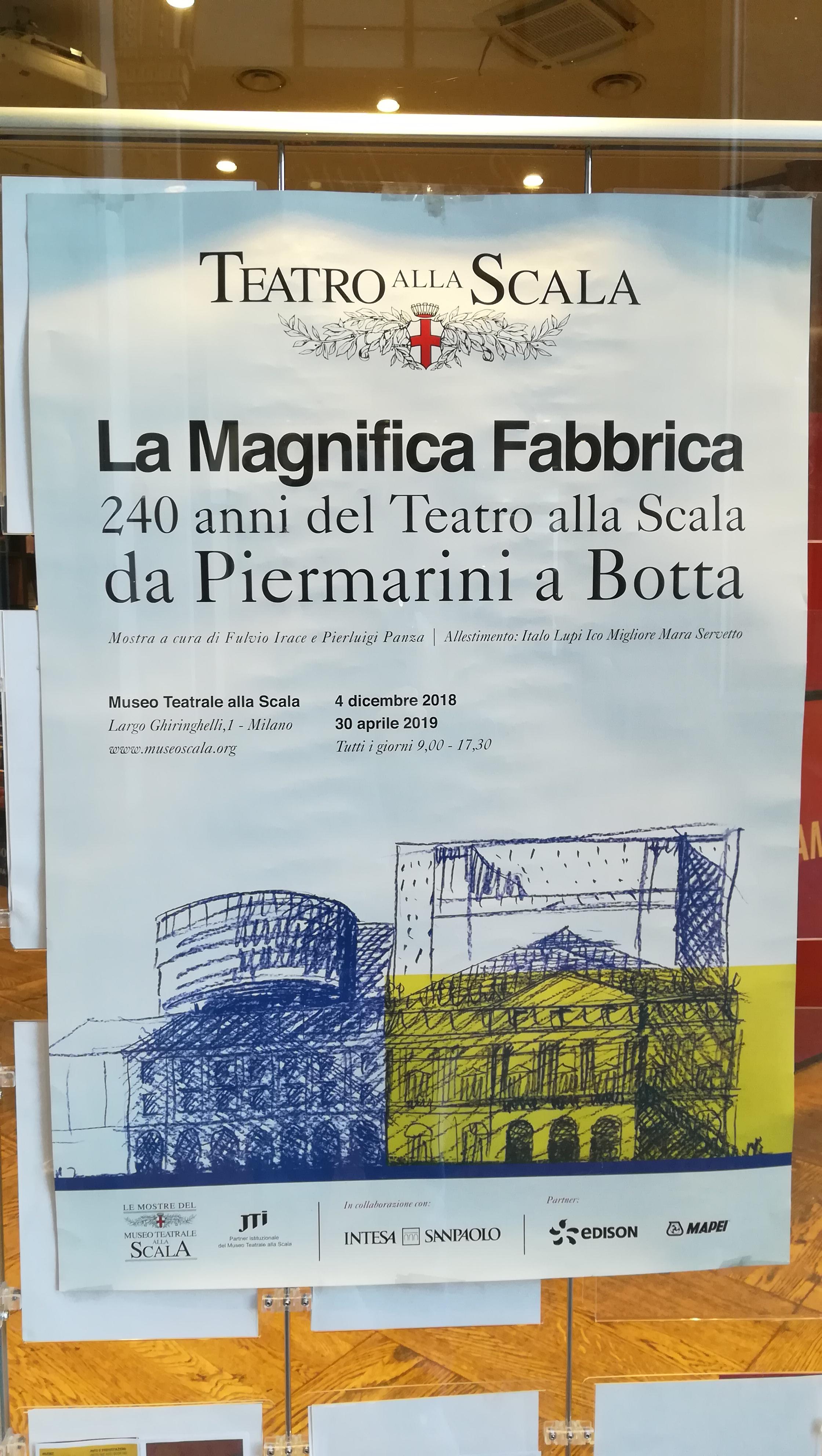 Manifesto della mostra La Magnifica Fabbrica in corso al Museo teatrale alla Scala.